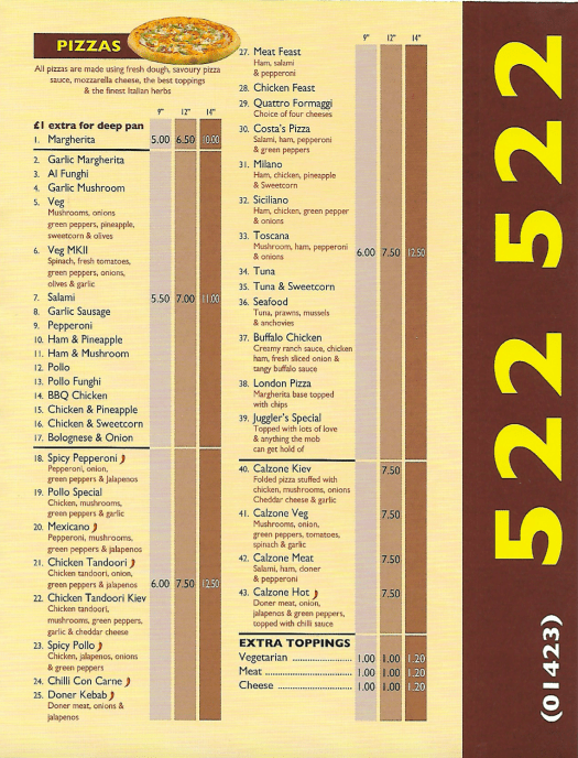 Juggler's takeaway harrogate pizza menu