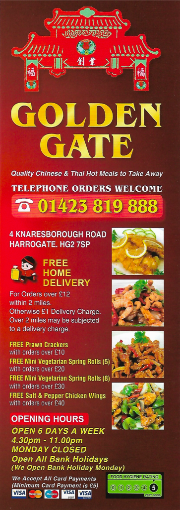 Golden Gate Harrogate chinese takeaway menu