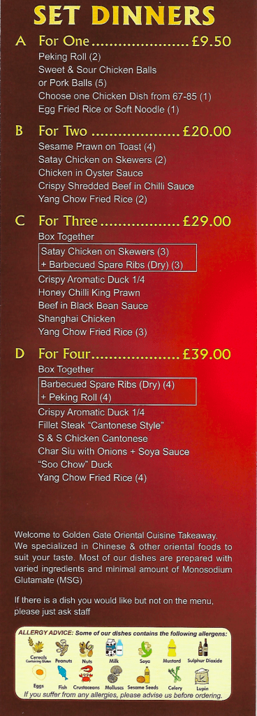set dinners menu