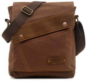 Small Canvas Messenger Bag in Brown: $31