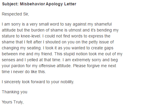 Apology letter for bad, rude, or unprofessional behavior 7+ formats.