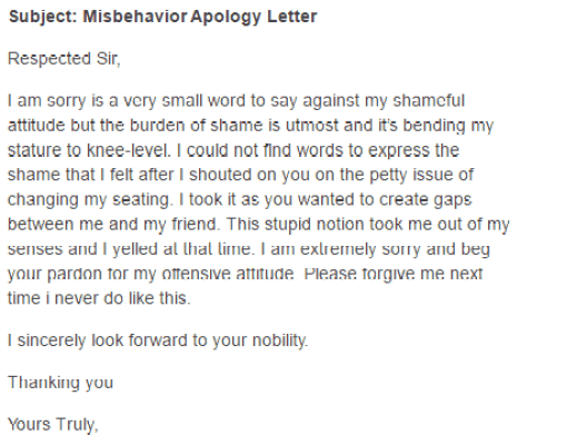 5  apology letters for misconduct