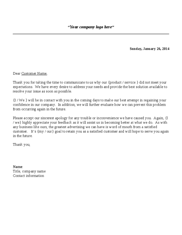 5 complaint response letters find word letters for Replying to a complaint letter template