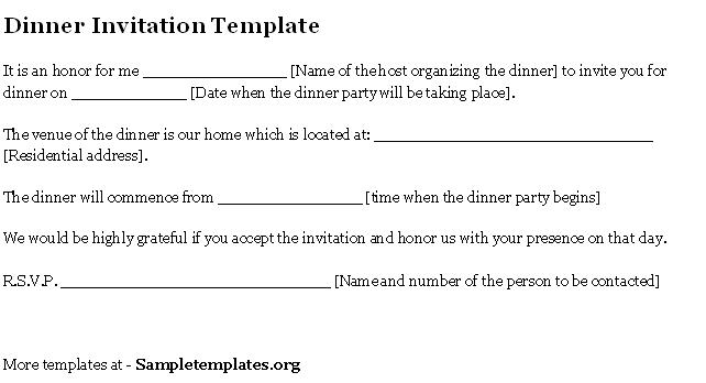 invitation for dinner at home