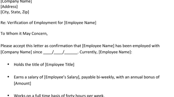 Proof Of Employment | 6 Proof Of Employment Letters Find Word Letters