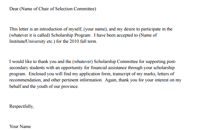 letter of recommendation for financial assistance