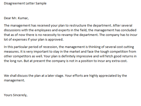 disagreement letter template find word letters