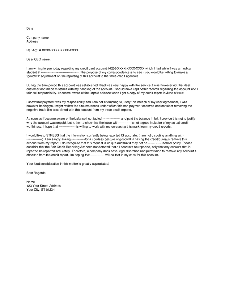 goodwill-letter-02 Sample Goodwill Late Payment Letter Template on forgiveness removal, for creditors authorized user, for event, for mortgage, credit warriors,