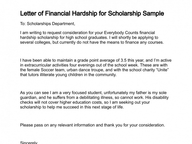 Nice Beautiful Financial Hardship Letter Photos   Resume Samples .