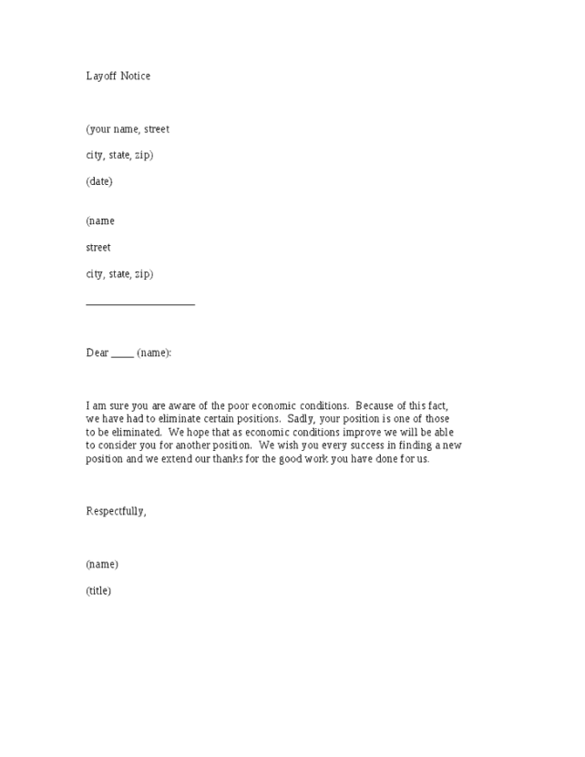 layoff letter template 5 layoff notice letters find word letters 22711 | layoff notice letter 02