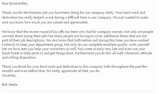 thank you for your hard work and dedication letter