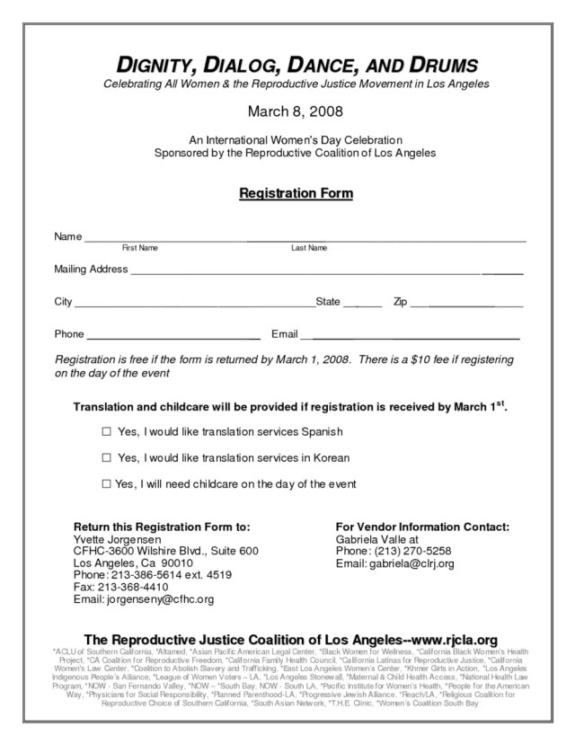Academy Registration Form Template 7.