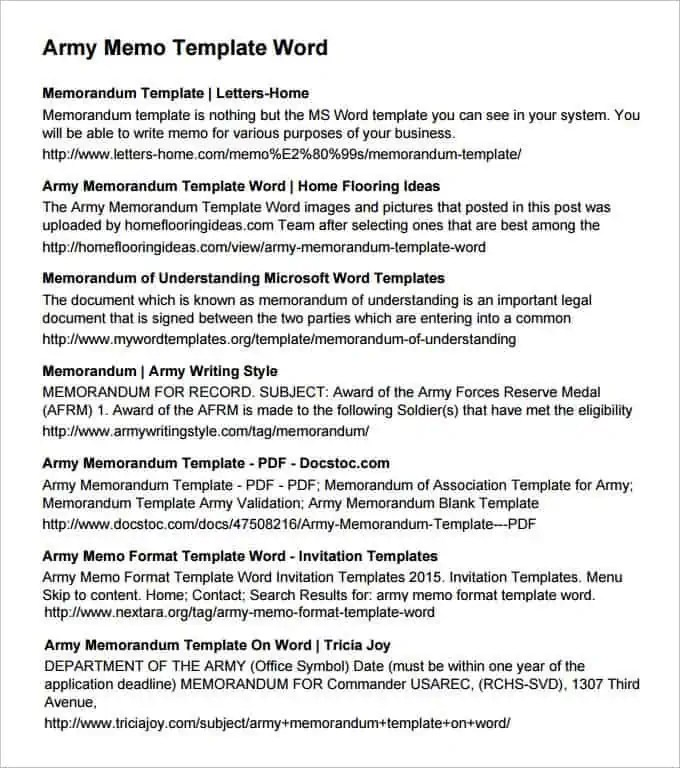Army Memorandum Templates - Find Word Templates
