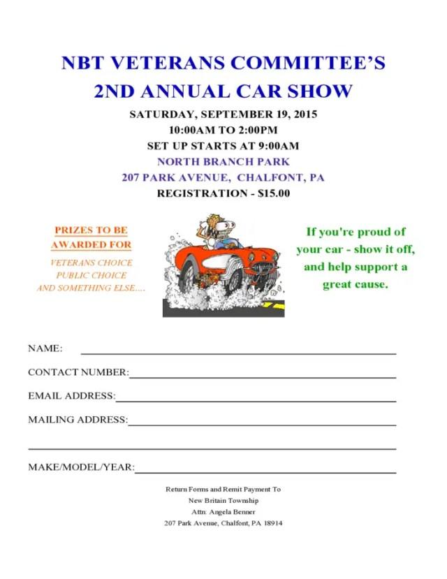 Car Show Registration Form Templates 2.