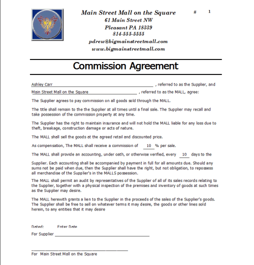 Commission Agreement Template 1.