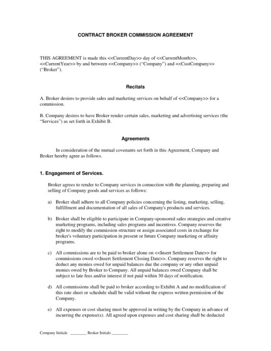 Commission Agreement Template 2.