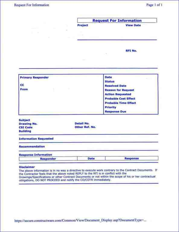 Construction RFI Templates Find Word Templates - Construction rfi template