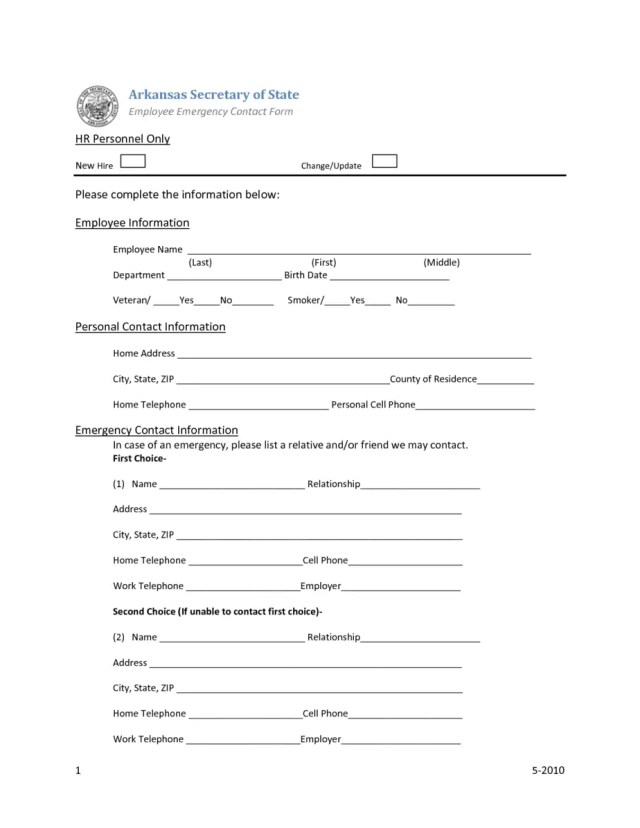 employee emergency contact forms find word templates. Black Bedroom Furniture Sets. Home Design Ideas