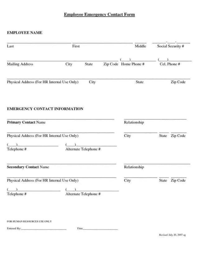 Employee Emergency Contact Form 7.