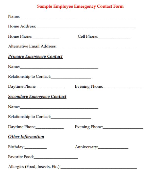 Employee Emergency Contact Form 9.