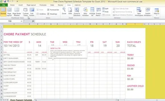 bill payment schedule template excel