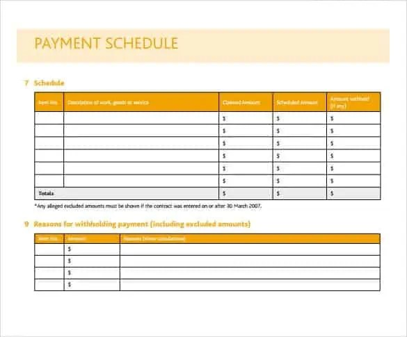 Payment Schedule Template 9.