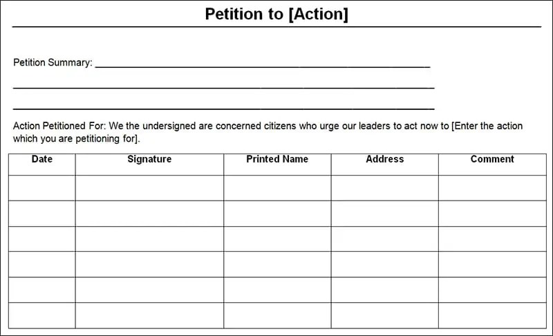 Petition Templates - Find Word Templates