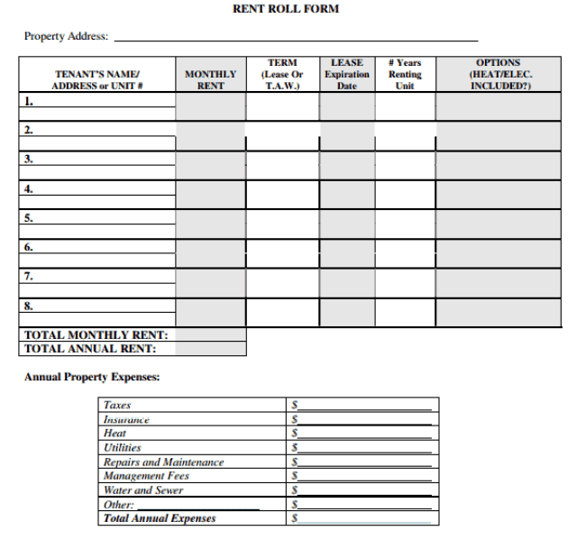 Rent Roll Template 7.