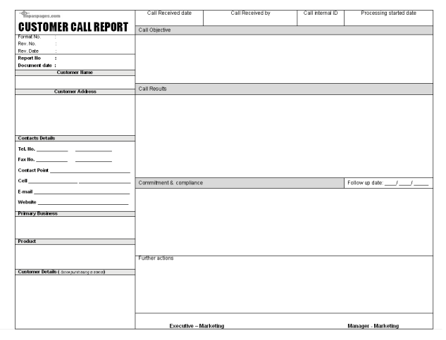 Sales Call Report Template 7.