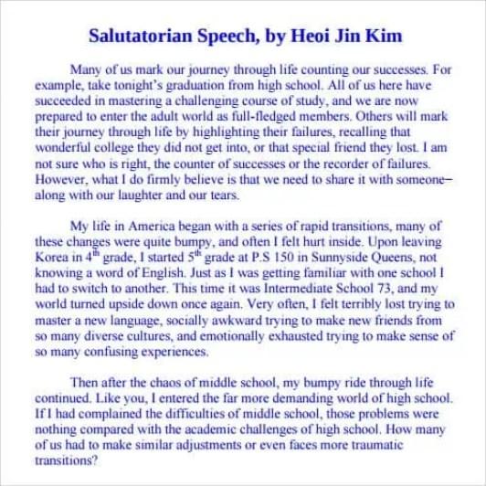 Salutatorian Speech Example 6.