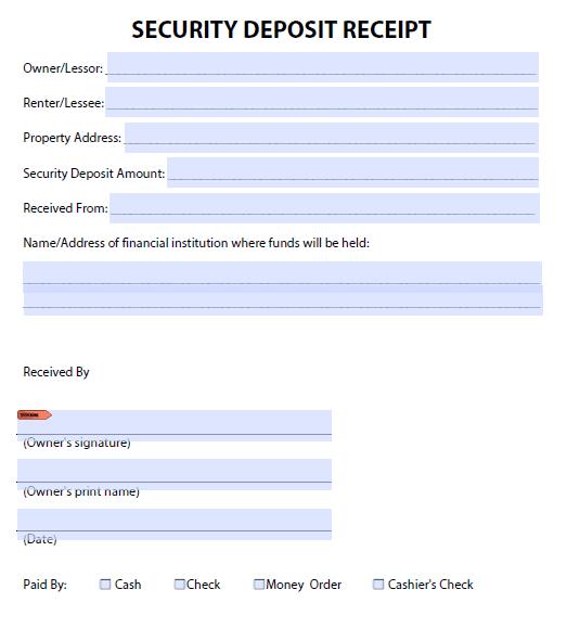 Security Deposit Receipt Template 1.