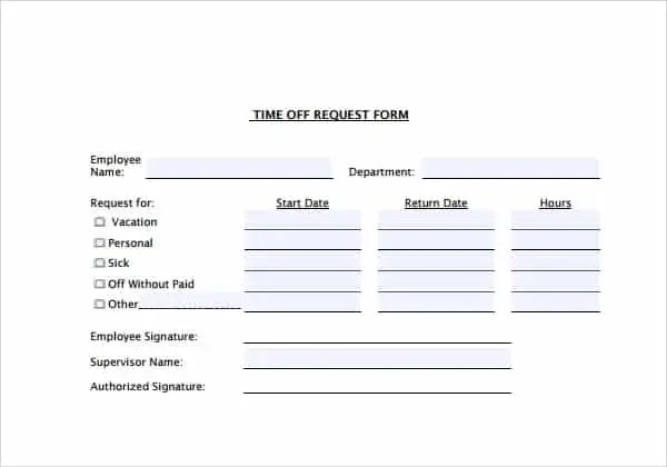 employee time off request form pdf