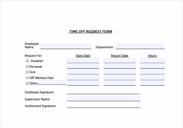 Time Off Request Forms - Find Word Templates