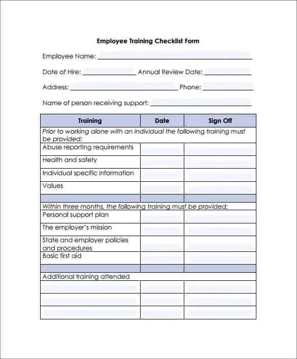 new employee training checklist - Forte.euforic.co