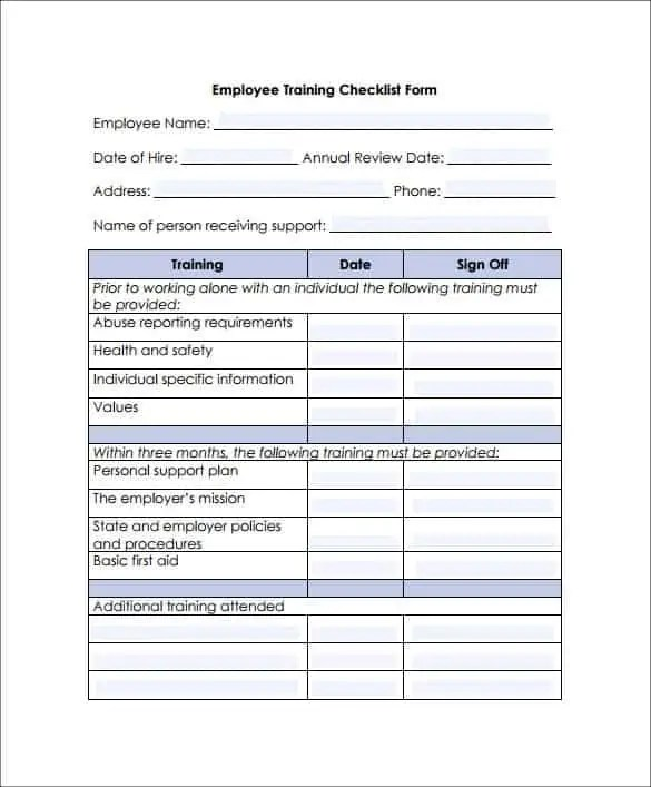 Training Checklist Templates  Find Word Templates