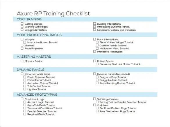 Training Checklist Templates - Find Word Templates
