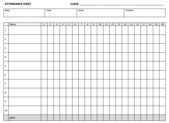 Attendance Sheet Templates - Find Word Templates