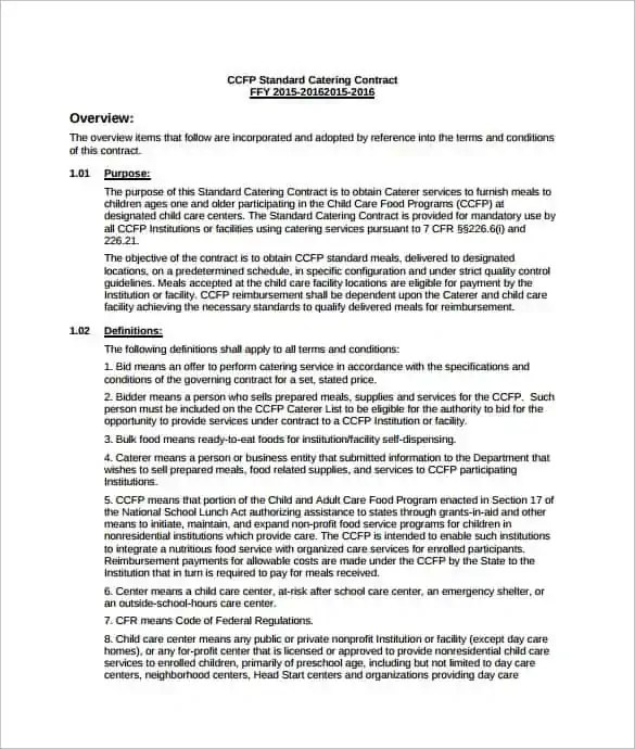 Food Catering Contract Template Catering Contract Legalforms Org
