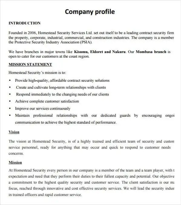 Company Profile Samples Find Word Templates – Professional Business Profile