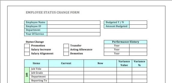 employee status change form 8