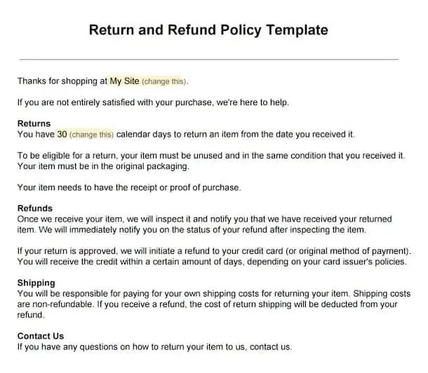 Return Refund Policy Template Archives Find Word Templates