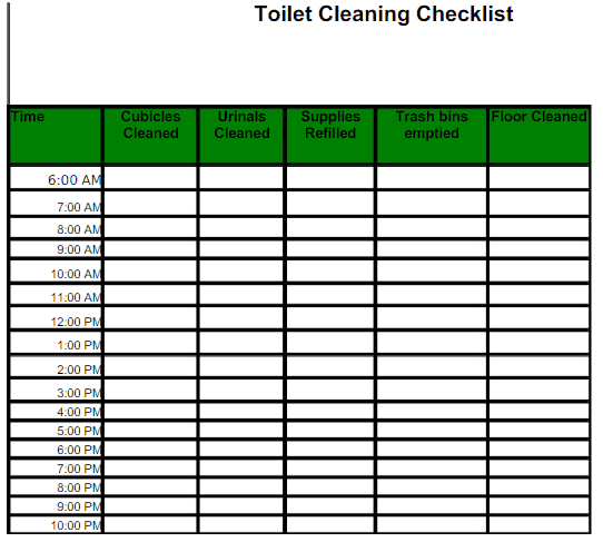 toilet cleaning checklist templates find word templates. Black Bedroom Furniture Sets. Home Design Ideas