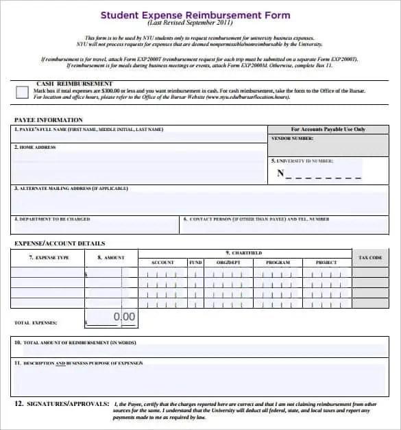 Expense Reimbursement Forms - Find Word Templates