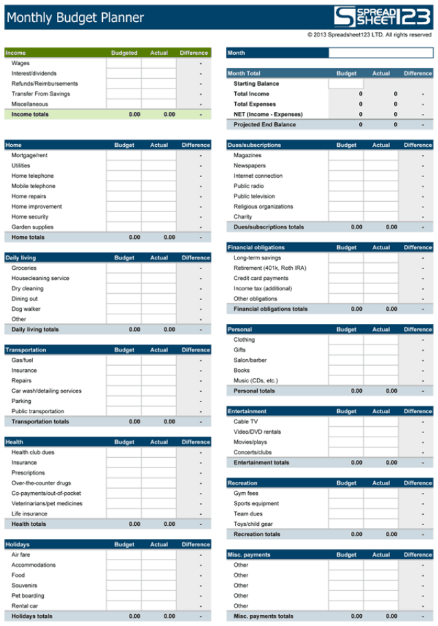 Household budget templates find word templates for Home planner free