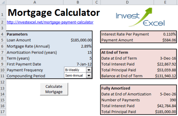 Mortgage Calculator Excel 3.