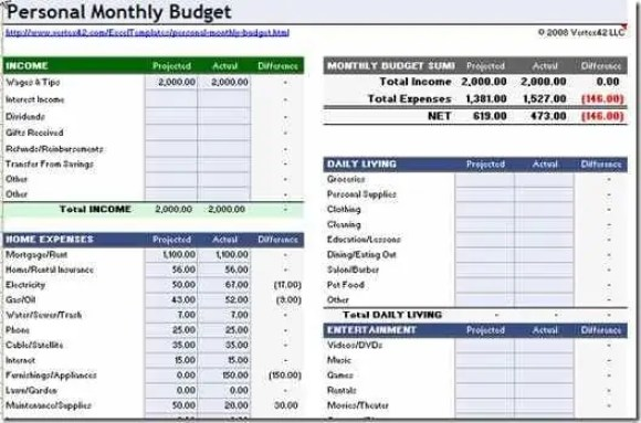 Personal Budget Spreadsheet 3.