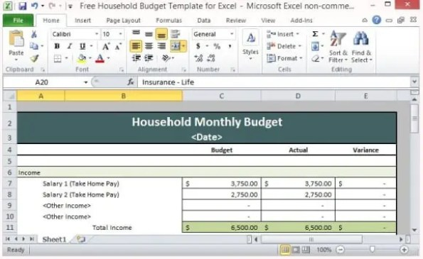 Personal Budget Spreadsheet 5.