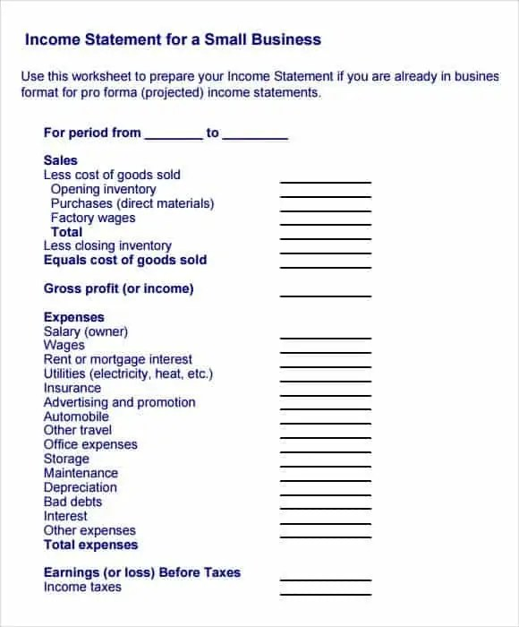 Income Statement Templates  Find Word Templates