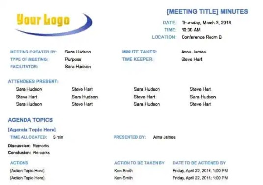 meeting minutes template 8.