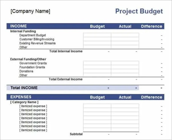 project budget template 4.